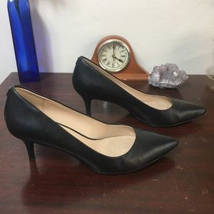 COACH Pointed Black Leather Heels Size 8